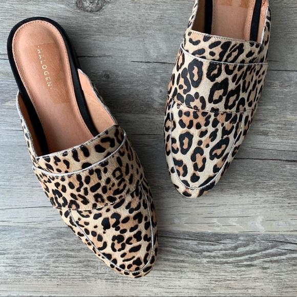 vast selection get cheap 100% quality Halogen 'Violet' Calf Hair Leopard Loafer Mule 8.5